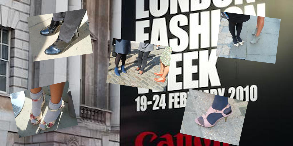 London Fashion Week 2010: composite image, Wikipedia background with additional photos Clare Brant.