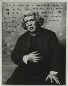 Portrait of Machen in period costume (image via the Harry Ransom centre)