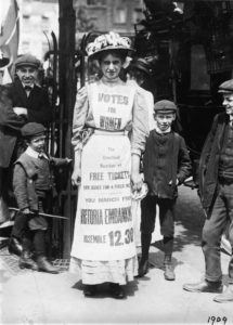 Vera Wentworth advertising a march supporting votes for women, in London. The photograph was taken in 1909. Photograph: Heritage Images