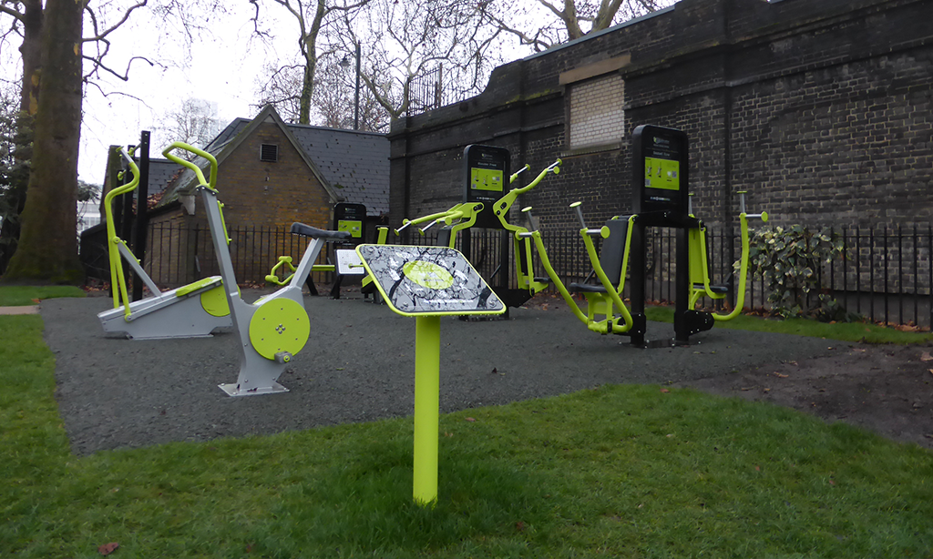 The new outdoor gym in the Embankment Gardens