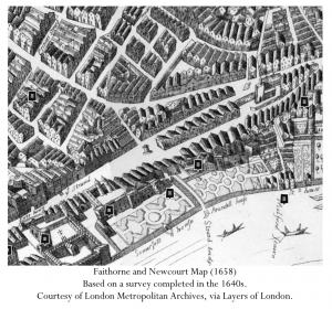 Faithorne and Newcourt Map (1658) Based on a survey completed in the 1640s. Courtesy of London Metropolitan Archives, via Layers of London.