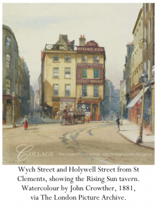Wych Street and Holywell Street from St Clements, showing the Rising Sun tavern. Watercolour by John Crowther, 1881, via The London Picture Archive.