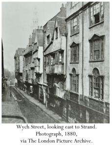 Wych Street, looking east to Strand. Photograph, 1880, via The London Picture Archive.