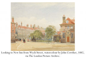 Looking to New Inn from Wych Street, watercolour by John Cowther, 1882, via The London Picture Archive