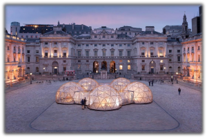 The Somerset House courtyard, with Michael Pinsky's Pollution pods, April 2018.