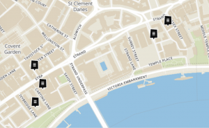 Aisha's Lost Buildings of the Strand collection on Layers of London.