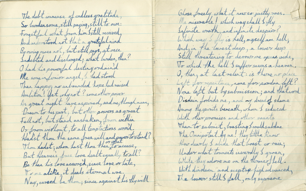 Paradise Lost, Book IV, transcribed by Duffy. From one of Duffy's school exercise books.