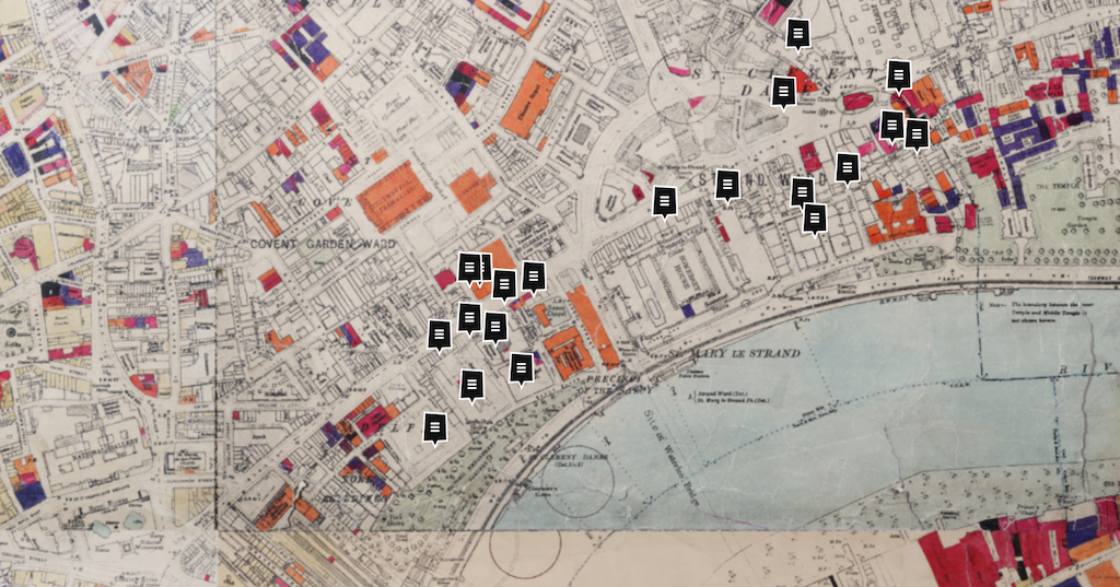 Map of the Strand area showing Bomb Damage 1945 via London Metropolitan Archives, and the Layers of London site.