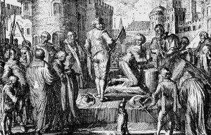 Contemporary copper engraving depicting the execution of Robert Devereux, 2nd Earl of Essex (artist unknown)