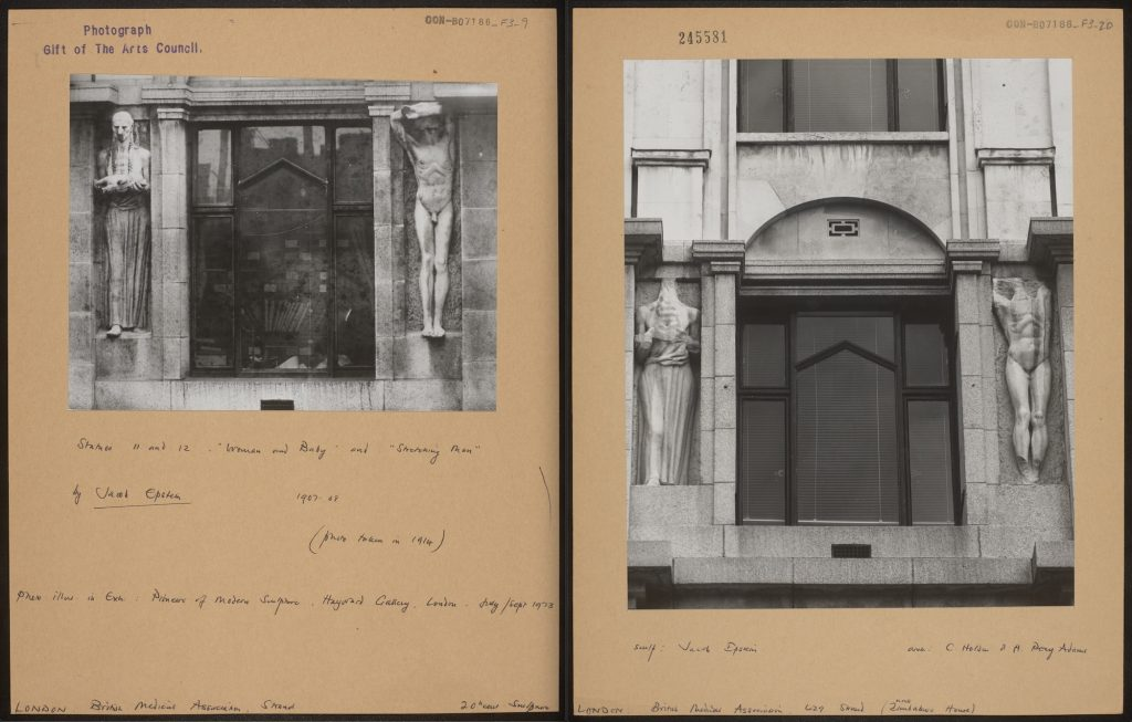 Left: The statues in situ on the Strand before 1937 (CON_B07186_F003_009). Right: The same statues after 1937 (CON_B07186_F003_020). The Courtauld Institute of Art. CC-BY-NC