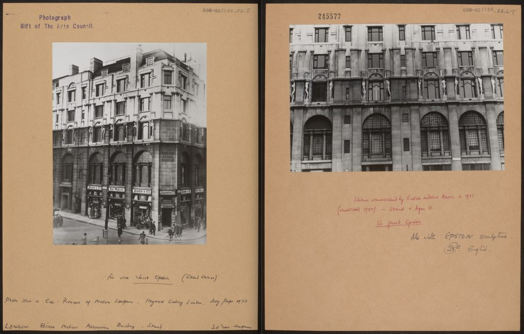 Left: View of the BMA building on the corner of the Strand (CON_B07186_F003_005). Right: The statues after 1937 (CON_B07186_F003_006). The Courtauld Institute of Art. CC-BY-NC.