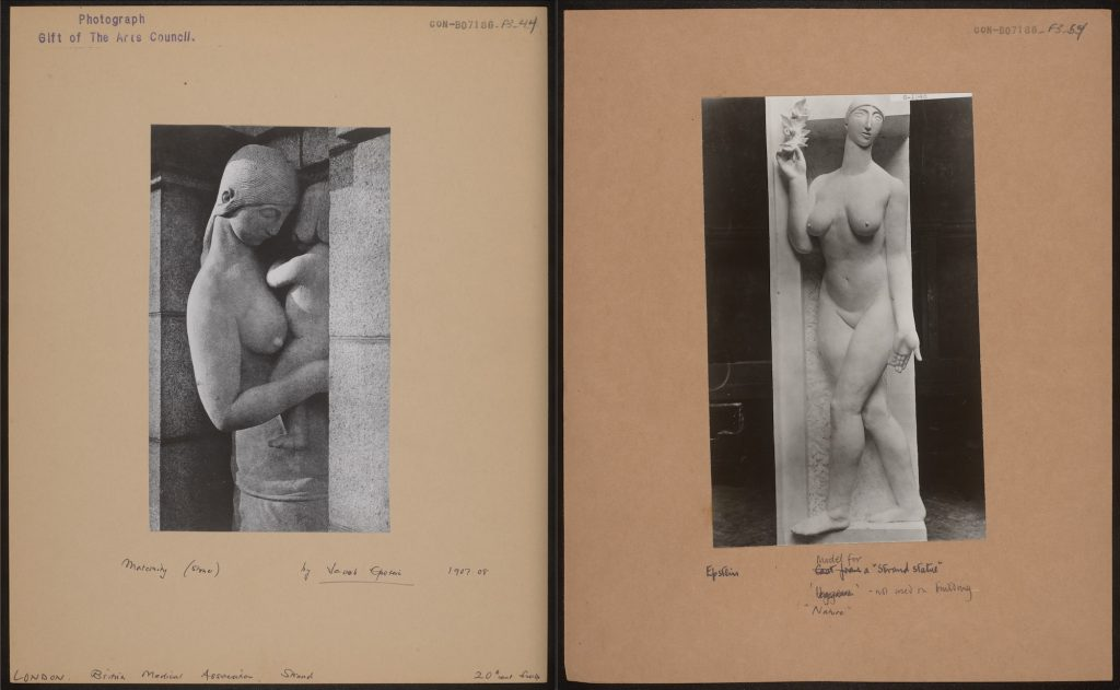 """Left: """"Maternity"""" in situ on the Strand (CON_B07186_F003_044). Right: Cast for """"Nature"""" destroyed after rejection by the architects in 1907 (CON_B07186_F003_054). The Courtauld Institute of Art. CC-BY-NC."""