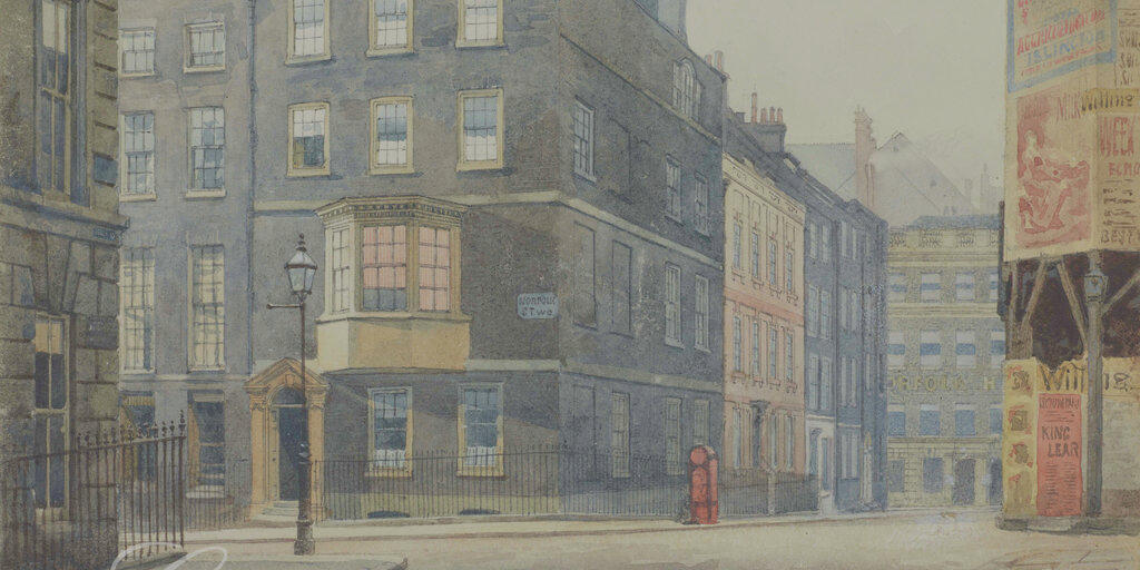 Norfolk Street and Howard Street, by John Crowther (1837-1902) via Collage, London Picture Archive.