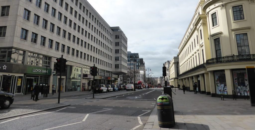 Strand looking west toward Trafalgar Square, 17 March 2020, by Clare Brant.