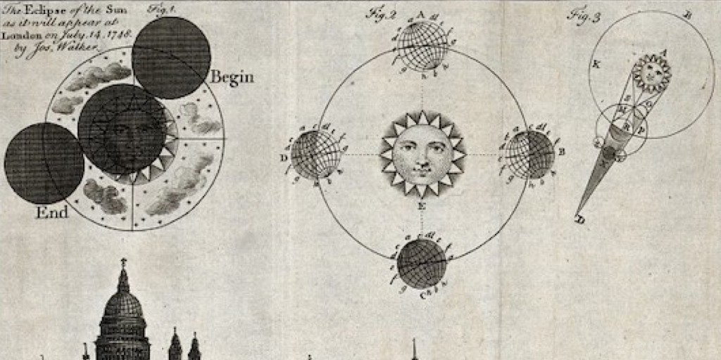 V0024734 Astronomy: a view of London in 1748, with diagrams of an eclipse. Credit: Wellcome Library, London.   Shared under Creative Commons Attribution only licence CC BY 4.0.