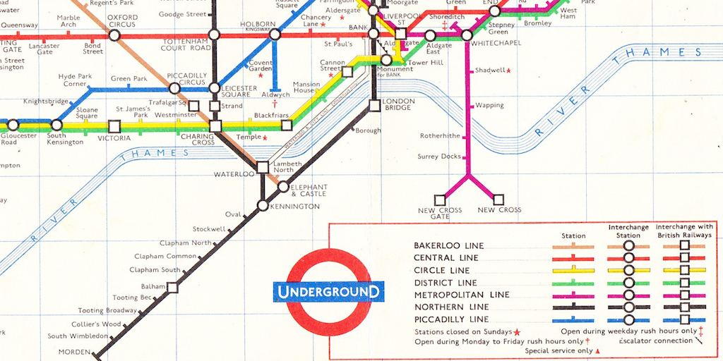 Detail of the 1963 London Underground map, showing Aldwych tube station as a branch of the Piccadilly Line.