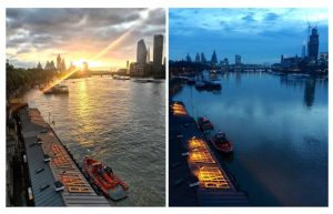 Left: Tower RNLI Lifeboat Pier (11/09/18). Right (02/02/2020). Both via @towerrnli on Instagram