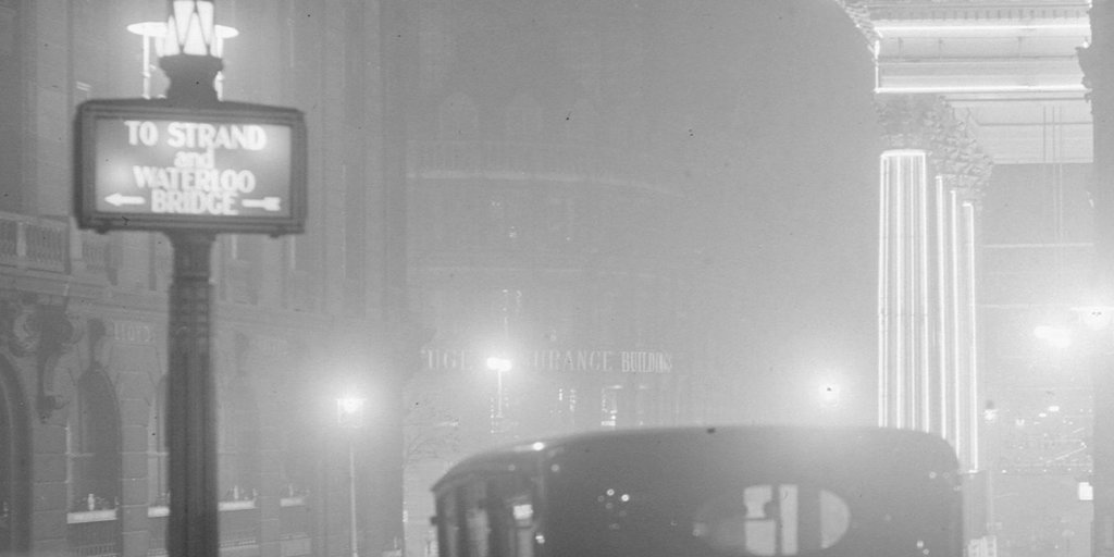 Central London at night (in 1936, but still foggy!). Lacey/General Photographic Agency, via Getty Images.
