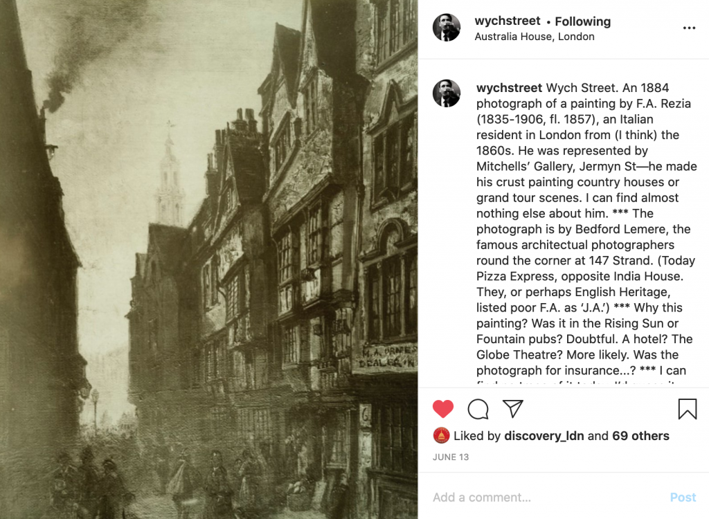 """Wych Street. An 1884 photograph of a painting by F.A. Rezia (1835-1906, fl. 1857), an Italian resident in London"" – Shared by @WychStreet 13 June 2020."