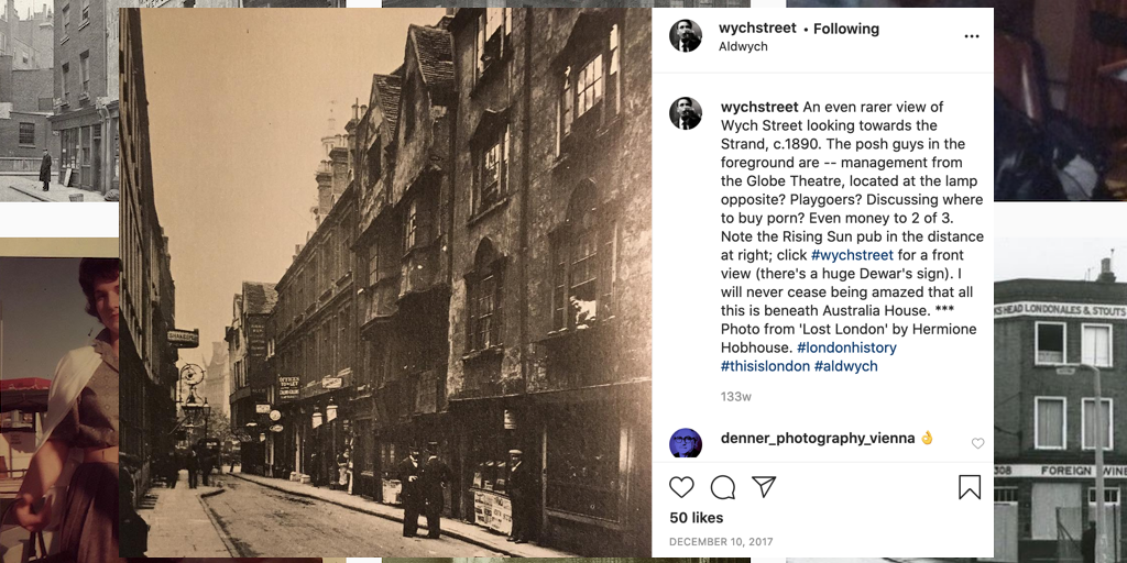 Wych Street looking towards the Strand, c. 1890, from 'Lost London' by Hermione Hobhouse. Shared by @WychStreet, 10 December 2017.