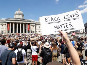 A photo showing the Black Lives Matter protest in Trafalgar Square.