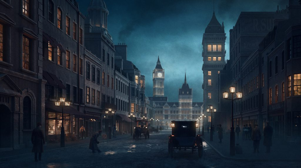 Dimly lit Victorian London street