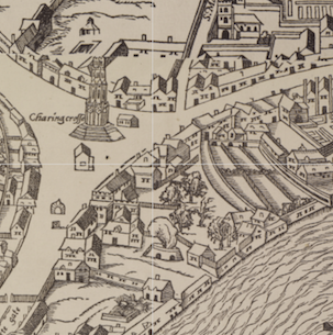 Charing Cross on the 16th-century Agas Map, via Layers of London.