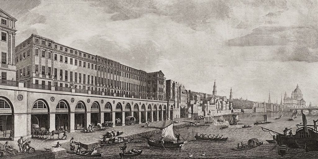 Benedetto Pastorini's engraving of the Adelphi terrace in its splendour.