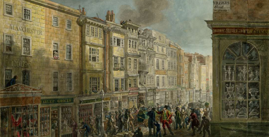 The Strand from the corner of Villiers Street by George Scharf, 1824 (British Museum)