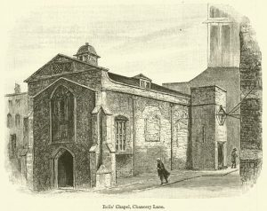 A sketch of the Rolls' House and Chapel on Chancery lane.