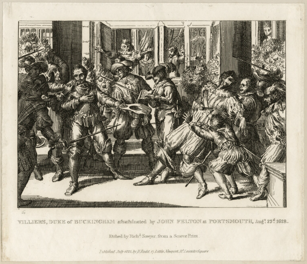 The assassination of George Villiers by John Felton, etching by Richard Sawyer published 1822, National Portrait Gallery.