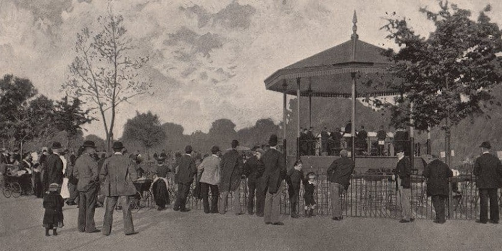 A London County Council Band in Battersea Park, London, 1896.