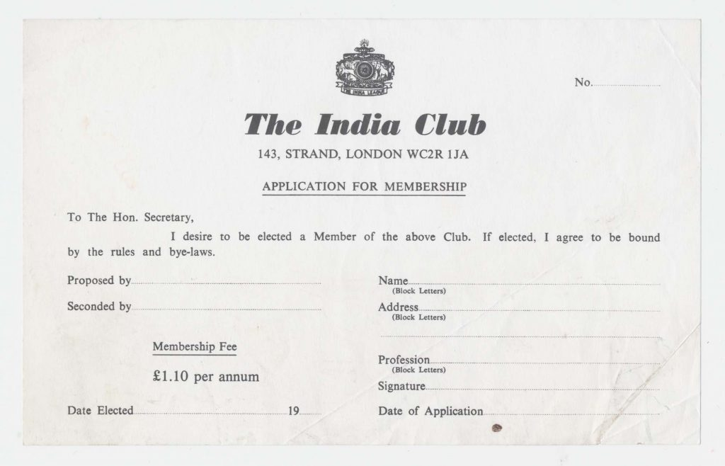 Application for members: back when the India Club was a members' club. Via