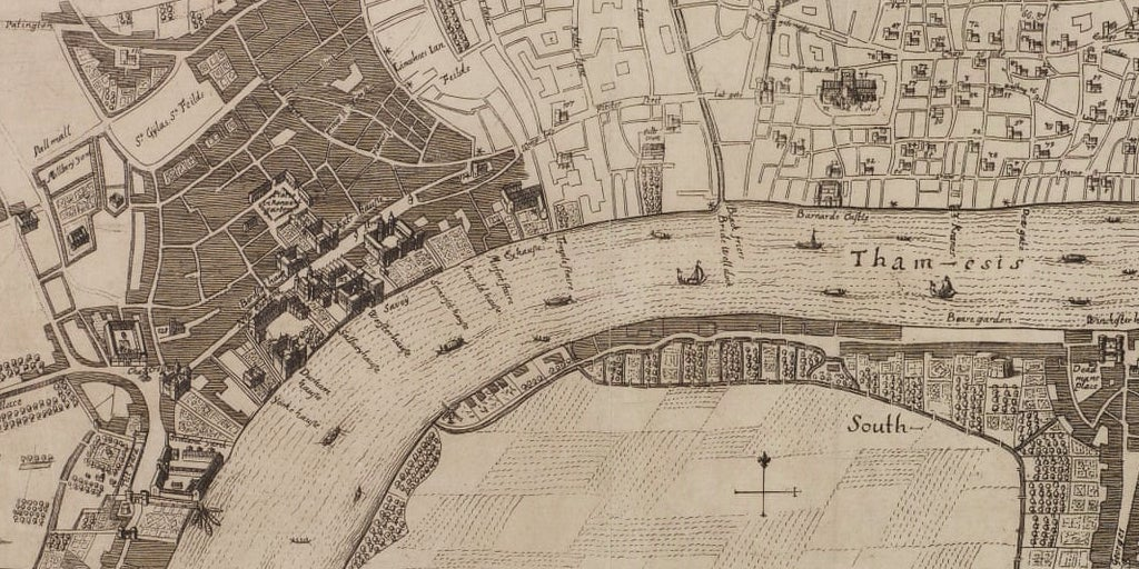 The medieval street network around the Strand and into the City, from seventeenth-century plans attributed to Robert Hooke.