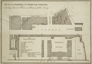 1790 architectural map of St Mary le Strand and surrounding buildings on the Strand, black and white, view from above