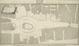 1810 architectural plan of St Clement Danes church and the building around it, view from above