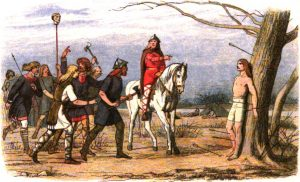 Illustration of medieval danish people with weapons and some on horses crowding around and pointing to a man tied to a tree