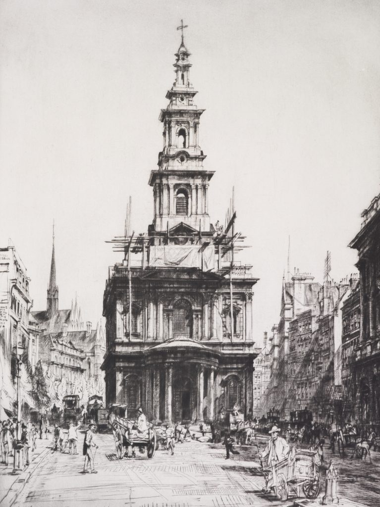St. Mary le Strand, 1916, by Francis Dodd. Gift of Sir John Ilott, 1963. https://collections.tepapa.govt.nz/object/38715