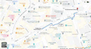 Google map showing walking path between St Mary le Strand and St Clement Danes, tag reading '3 mins'