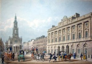Coloured illustration of St Mary le Strand's facade, also showing Somerset House to its right. Many horse-drawn carriages, carts and horse riders are shown on the street, and ladies and gentlemen talking in groups.