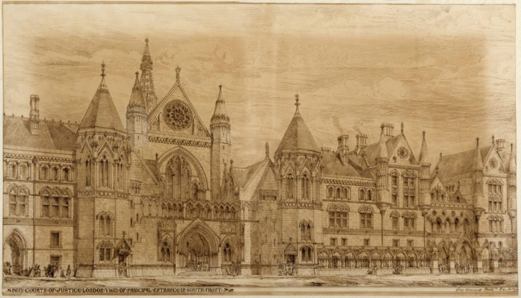 George Edmund Street's design for the Royal Courts of Justice, perspective of the south front entrance. From the Royal Academy of Arts.