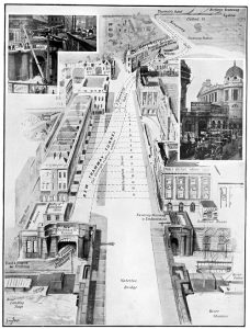 A diagram of the underground passage Kingsway Tram Tunnel provides between Kingsway and the North Embankment.