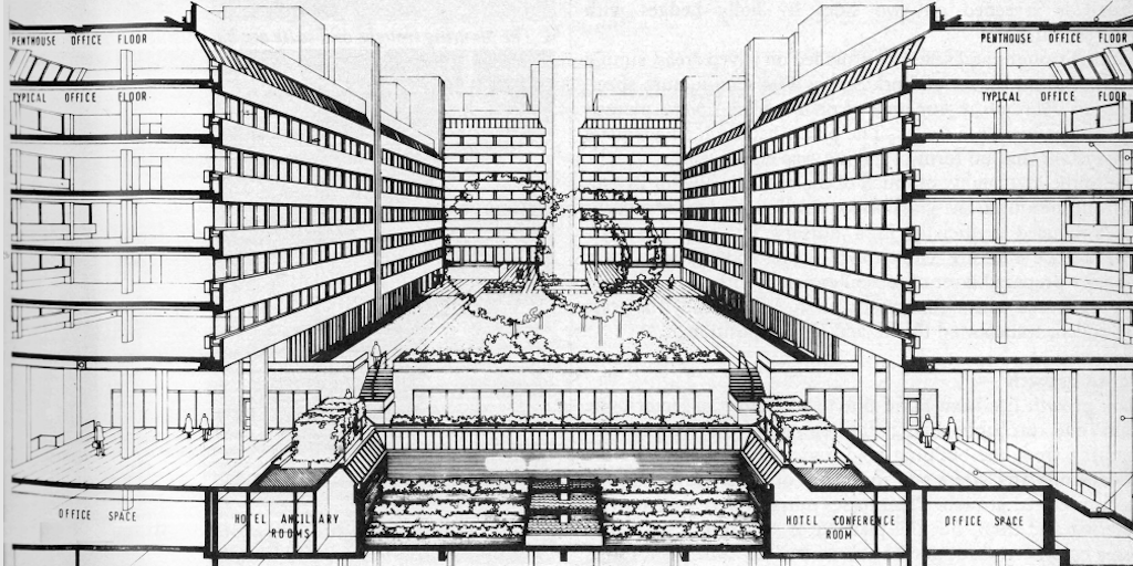 Sectional perspective showing the court of 180 Strand as a roof garden, Frederick Gibberd and Partners, London, AJ Buildings Library (1976)