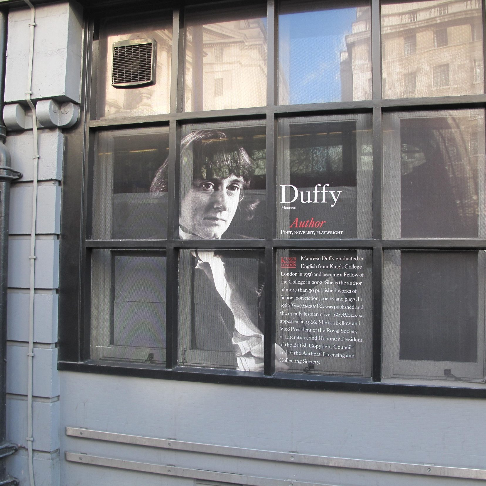 Maureen Duffy depicted in the windows of the King's Strand Campus © Christine Ayre