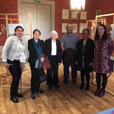 Maureen Duffy (centre), with guests left to right, Vered Cohen Barzilay (Israel), Ida Baucia (Italy), Maureen Duffy, Mouayad Sary (Iraq), Christina Kuper (Solomon Islands), Katie Webb.