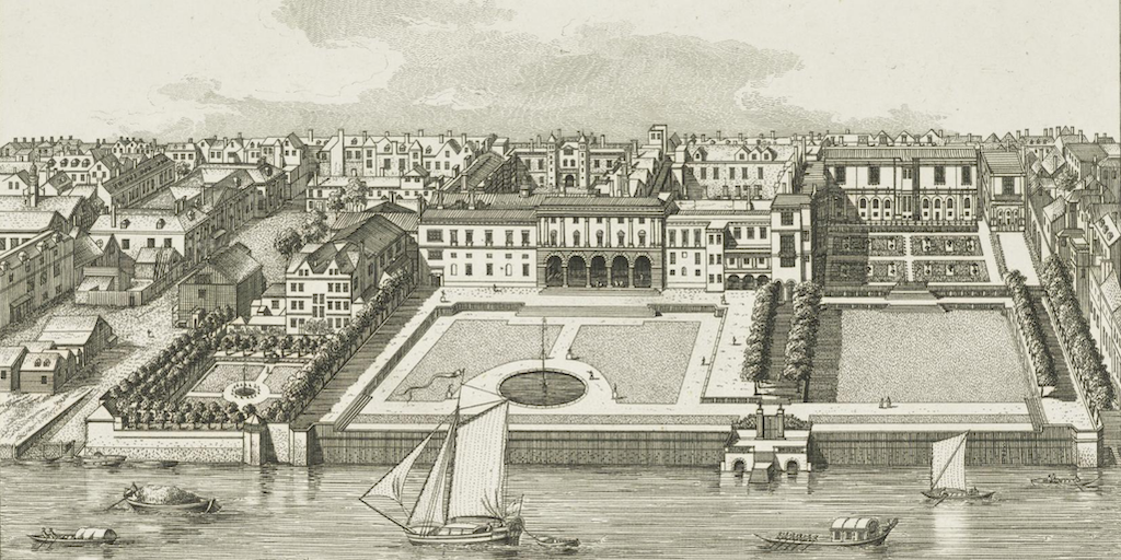 Somerset House c.1720 by Leonard Knyff. Etching illustration from 'The Antiquities of Westminster', 1808. Creative Commons via National Galleries Scotland.