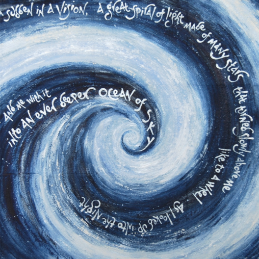 Detail of 'Spiral of light', by Liz Mathews, which sets another text from Maureen Duffy's 'Alchemy'.