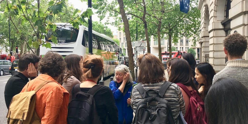 Professor Clare Brant leading the Strandlines London History Tour, 30 May 2019.