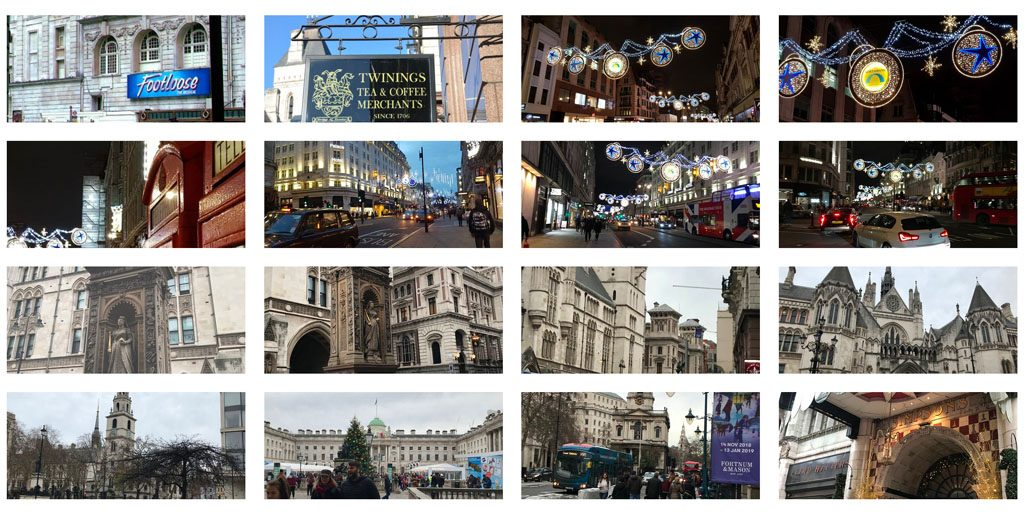 A grid of photographs of the Strand taken by reviewers and uploaded to Trip Advisor. The views include Christmas Lights, grand buildings such as the Royal Courts of Justice and Somerset House, and theatre signs.