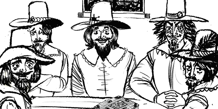 The Gunpowder Plotters meeting at the Duck and Drake, as rendered by Maz Hemming.